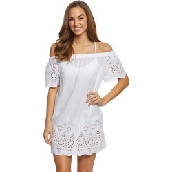 Ralph Lauren Lauren Off Shoulder Shift Dress - White Medium Cotton - Swimoutlet.com