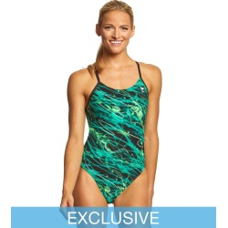 TYR Women's Hypnosis Cutoutfit One Piece Swimsuit - Green 38 Polyester - Swimoutlet.com