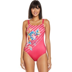 Amoena Mastectomy Honolulu High Neck One Piece Swimsuit B/C Cup - Pink/Multi 12B Polyamide/Lycra - Swimoutlet.com