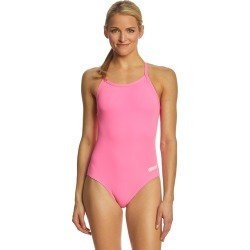 Arena Women's Master Maxlife Sporty Thin Strap Racer Back One Piece Swimsuit - Paparazzi/White 30 Polyester/Pbt - Swimoutlet.com