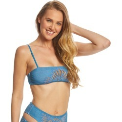 Beach Riot Stone Wash Penny Bikini Top - Denim Small - Swimoutlet.com found on MODAPINS from Swim Outlet for USD $80.95