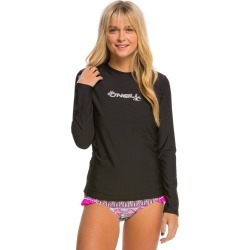 O'neill Women's Basic Skins Long Sleeve Surf Tee Shirt - Black Xl - Swimoutlet.com
