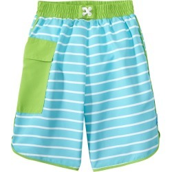 I Play. By Green Sprouts Boys' Classic Boardshorts W/Built-In Swim Diaper Baby - Aqua Stripe 12 Months - Swimoutlet.com