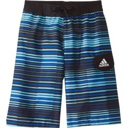 """Adidas Boys' Vara Stripe 19"""" Volley Swimsuit Big Kid - Turquoise Small Polyester - Swimoutlet.com"""