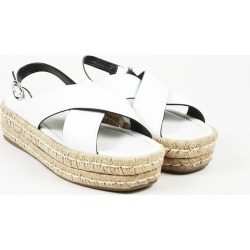 Leather Slingback Espadrille Sandals