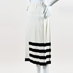 "Calvin Klein Collection Cream Black Knit ""Wilton"" Striped Skirt"