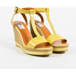 Lanvin Yellow Patent Leather T Strap Espadrille Wedge Sandals SZ 40
