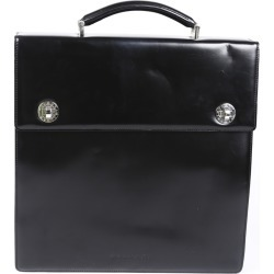 Bulgari Leather Briefcase Men's Black SZ: S found on MODAPINS from Luxury Garage Sale for USD $495.00