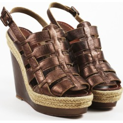 Brown Leather Caged Espadrille Sandals