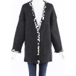 Christopher Kane Sequin Wool Knit Cardigan Gray SZ: M found on MODAPINS from Luxury Garage Sale for USD $250.00