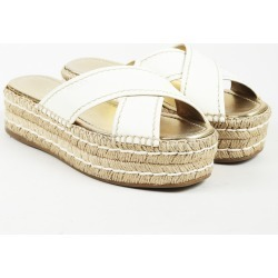 Leather Espadrille Prada Sandals