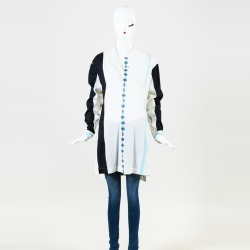Baja East White Multicolor Wool Blend Long Sleeve Striped Tunic Blue/White SZ: S found on MODAPINS from Luxury Garage Sale for USD $320.00