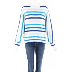 Chinti and Parker Breton Blue Striped Cotton Knit Sweater Blue/White SZ: L found on MODAPINS from Luxury Garage Sale for USD $100.00