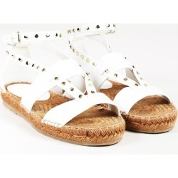 White Leather Studded