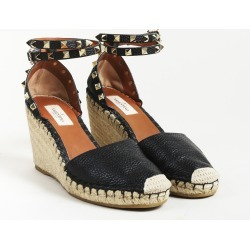 Garavani Black Leather Studded Espadrille Sandals