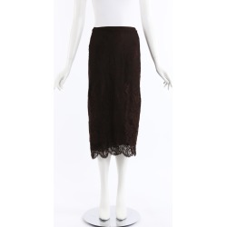 Ralph Lauren Collection Brown Sheer Lace Midi Skirt Brown/Floral Print SZ: L found on Bargain Bro India from Luxury Garage Sale for $50.00