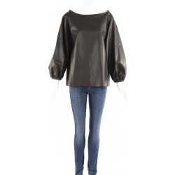 Martin Grant Green Leather Balloon Sleeve Top Green SZ: L found on MODAPINS from Luxury Garage Sale for USD $340.00