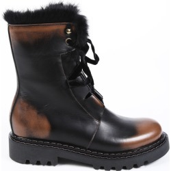 Henry Beguelin Black Brown Leather Fur Combat Boots Black/Brown SZ: 7 found on MODAPINS from Luxury Garage Sale for USD $383.00