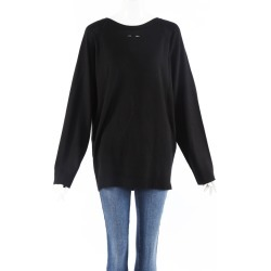 Barbara Bui Black Wool Knit Back Button Sweater Black SZ: L found on MODAPINS from Luxury Garage Sale for USD $140.00