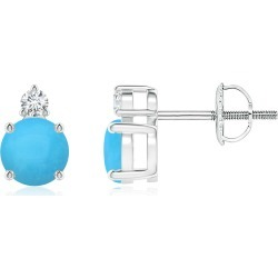 Basket-Set Round Turquoise Stud Earrings with Diamond found on Bargain Bro India from Angara Jewelry for $709.00