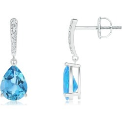 Solitaire Swiss Blue Topaz Drop Earrings with Diamonds found on Bargain Bro India from Angara Jewelry for $1079.00