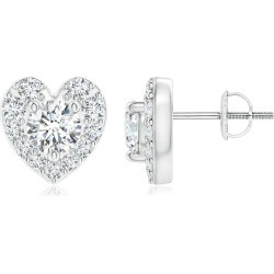 Diamond Stud Earrings with Heart-Shaped Halo