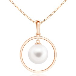 Freshwater Pearl Open Circle Dangle Pendant found on Bargain Bro India from Angara Jewelry for $259.00