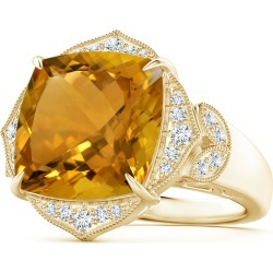 Art Deco Style GIA Certified Citrine Ring with Leaf Motifs found on Bargain Bro India from Angara Jewelry for $4639.00