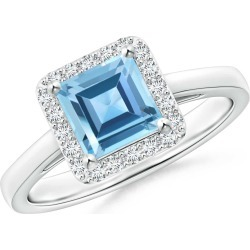 Classic Square Swiss Blue Topaz Halo Ring found on Bargain Bro Philippines from Angara Jewelry for $1699.00