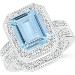 Emerald Cut Aquamarine Bridal Ring Set with Diamond Band