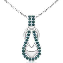 Blue Diamond Infinity Knot Pendant with Puffed Heart found on Bargain Bro from Angara Jewelry for USD $1,184.84