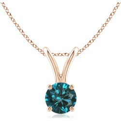 Round Blue Diamond Solitaire V-Bale Pendant found on Bargain Bro from Angara Jewelry for USD $417.24
