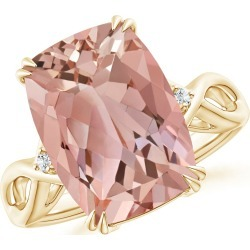 Cushion Morganite Crossover Ring with Diamond Accents found on Bargain Bro Philippines from Angara Jewelry for $2339.00