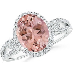 Oval Morganite Split Shank Ring with Diamond Halo found on Bargain Bro Philippines from Angara Jewelry for $4929.00