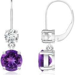 Round Amethyst Leverback Dangle Earrings with Diamond found on Bargain Bro India from Angara Jewelry for $3849.00