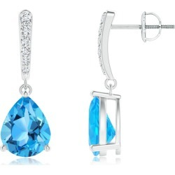 Solitaire Swiss Blue Topaz Drop Earrings with Diamonds found on Bargain Bro India from Angara Jewelry for $1969.00