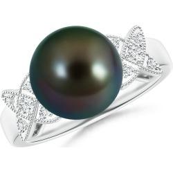 Tahitian Cultured Pearl XO Ring with Diamonds