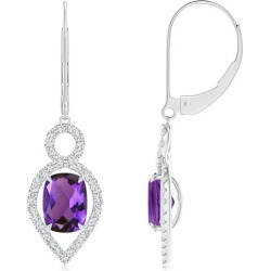 Cushion Amethyst Infinity Drop Earrings with Diamonds found on Bargain Bro India from Angara Jewelry for $3159.00