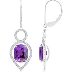 Cushion Amethyst Infinity Drop Earrings with Diamonds found on Bargain Bro India from Angara Jewelry for $3369.00