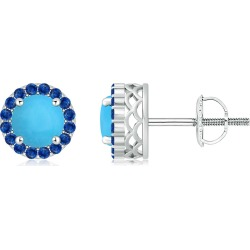 Round Turquoise and Sapphire Halo Stud Earrings found on Bargain Bro India from Angara Jewelry for $2549.00