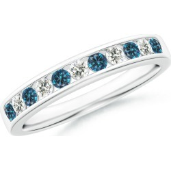 Blue and White Diamond Semi Eternity Wedding Band found on Bargain Bro from Angara Jewelry for USD $941.64