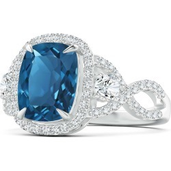 London Blue Topaz Crossover Ring with Halo found on Bargain Bro India from Angara Jewelry for $3969.00