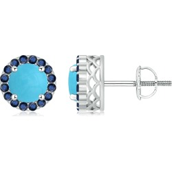 Round Turquoise and Sapphire Halo Stud Earrings found on Bargain Bro India from Angara Jewelry for $2709.00