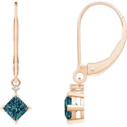 Princess-Cut Blue Diamond Leverback Earrings found on Bargain Bro from Angara Jewelry for USD $364.04