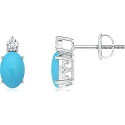 Basket-Set Oval Turquoise Stud Earrings with Diamond found on Bargain Bro India from Angara Jewelry for $659.00