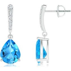Solitaire Swiss Blue Topaz Drop Earrings with Diamonds found on Bargain Bro India from Angara Jewelry for $1589.00