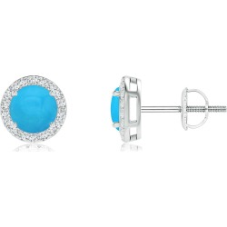 Vintage-Inspired Round Turquoise Halo Stud Earrings found on Bargain Bro India from Angara Jewelry for $1259.00