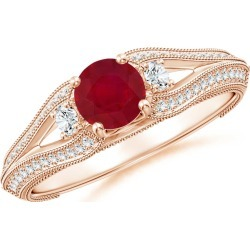 Vintage Inspired Round Ruby & Diamond Three Stone Ring found on Bargain Bro Philippines from Angara Jewelry for $1389.00