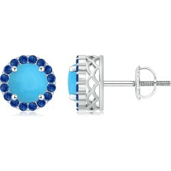Round Turquoise and Sapphire Halo Stud Earrings found on Bargain Bro India from Angara Jewelry for $3269.00