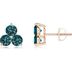 Round Blue Diamond Three Stone Stud Earrings found on Bargain Bro from Angara Jewelry for USD $341.24